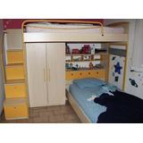 Litera Camarote Escalones/gaveta Closet Cajón/cabecera Niños