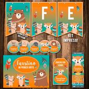 Kit Animales Del Bosque Impreso Banderín Cartel Invitaciones