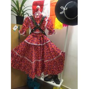Vestido De Adelita Para Revolucionaria Color Rojo Flores