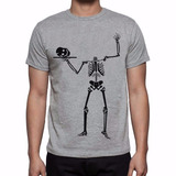 Camiseta Cinza Caveira Esqueleto Cabeça Bandeija 310 2138915ebe9