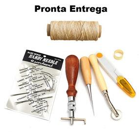Kit Ferramentas Couro Costura Groover Sovela Agulha 7 Peças