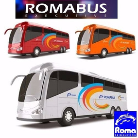 Kit Com 4 Brinquedos Onibus Roma Bus Executive Branco