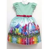 Vestido Dos Trolls Infantil Luxo Colorido Festa Fantasia
