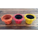 3 Vasos P/ Sucolentas E Violetas(11x10x 7cm)