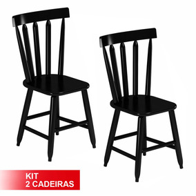 Kit 2 Cadeiras Country Fixa Em Madeira Bar Casa E Cozinha
