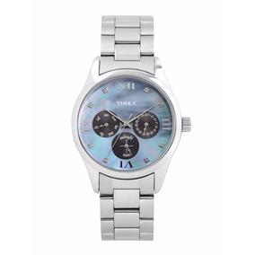 Reloj Timex Para Dama Tw000w206 Plateado/azul 100% Original*