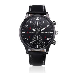 Relógio Masculino Luxo Aço Pulseira Couro Homem Analog Caixa