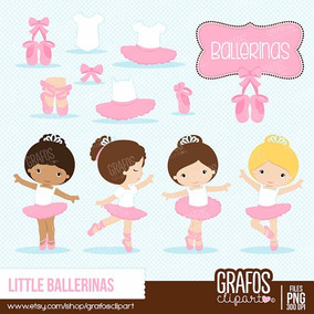 Kit Imprimible Pequeñas Bailarinas Imagenes Clipart B019