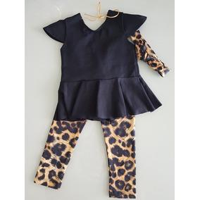 Kit Bebê 1 Ano Menina Legging Bata Peplum Turbante Lookinho