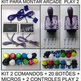 Kit P Montar Arcade 2 Comandos 20 Botões + Controles Play2