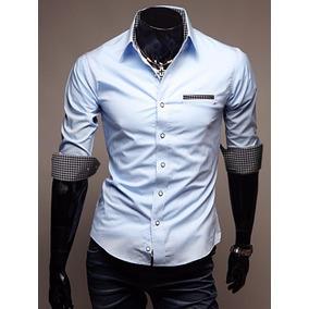 Camisa Social Masculina Slim Fit Esporte Fino Manga Media Lk