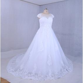 Vestido De Casamento De Luxo Frisado - Muito Lindo