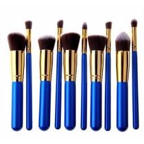 Kit Com 10 Pincéis Kabuki Azul + Frete Grátis
