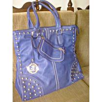 Bolsa Feminina W Key Importada Azul Grande
