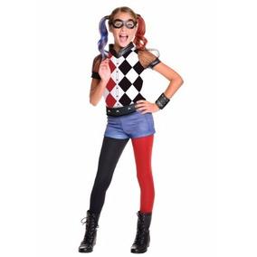 Disfraz Niña Harley Quinn Dc Superhero Traje Halloween