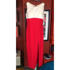 - Vestido De Noche Largo Color Perla/rojo