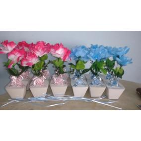 Centro De Mesa Vasinho De Flores, Personalizado Com Nomes