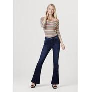 Calça Jeans Feminina Flare Algodão Lavação Tradicional