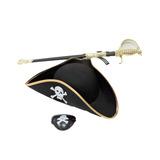 Kit Fantasia Pirata Chapeu,espada,tapa Olho,acessorios 3 Pçs