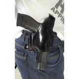 Coldre Panqueca Em Couro,pistola 380 Destro Preto