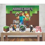 Painel 1,00x0,70m Minecraft  +displays D Mesa Festa Infantil