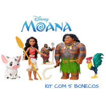 Kit 5 Bonecos Moana Maui Chefe Tui Galo E Porco Disney