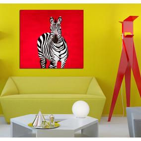 Cuadro Cebra Con Fondo Rojo Zebra Animal Print Life 60x60cm