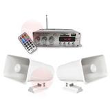 Kit Perifoneo Amplificador Bluetooth Usb Y 2 Trompetas 30w