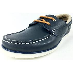 Zapatos Nautico Bs Hombres Mocasìn Cordones Azul Cuero Nuevo