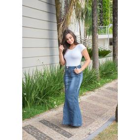 Saia Jeans Longa Com Detalhe De Poá Nos Bolsos P36 M38 G40 X