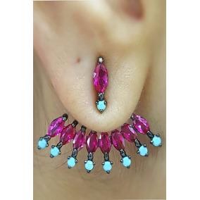 Brinco Feminino Semijoia Moda Pink E Azul + Frete Grát