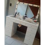 Mesa Maquillaje 1.20mt Con Vidrio 2cajoneras+espejo Luces