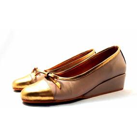 Sam123 Zapatos Taco Chino De Cuero Talles Grandes Dorado