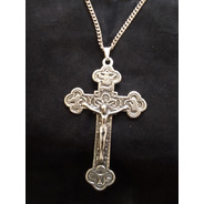 Cruz Bizantina Ornada - Estanho Envelhecido