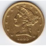 5 Dolares Oro 22 Kt Usa 1893 Hermosa 8.4 Gramos