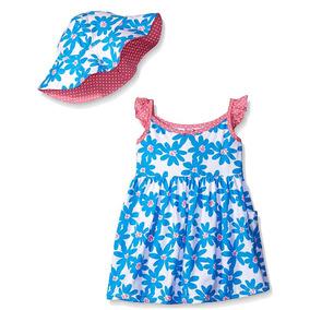 Gerber Vestido De Algodón 3t Niña Con Sombrero