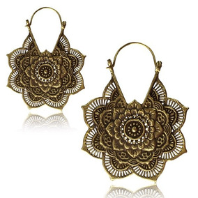 Brinco Mandala Tribal Boho Chic Indiano Dourado Exclusivo