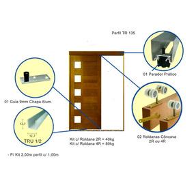 Kit Para Porta De Correr 2mt Completo Rold. Concava 2r