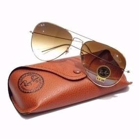 Oculos De Sol Aviador Rb 3025 Lente Marrom Ray Ban Original
