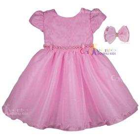 Vestido Festa Luxo Daminha Realeza Rosa Com Bico De Pato