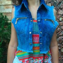 Colete Jaqueta Jeans Feminino Lindo Com Bolso Frete Gratis