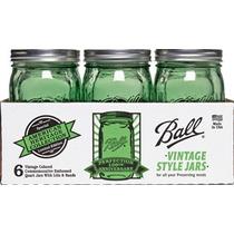 Mason Jar Verde Vintage 32 Oz Caja Con 6 Piezas