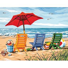 11 X 14 Silla De Playa Trio Obras De Pintura