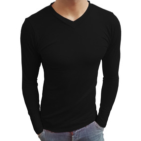 Camisa Camiseta Gola V Rasa Masculina Viscolycra Manga Longa