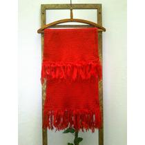 Pashmina Bufanda En Telar Crochet Lana Merino Y Piel