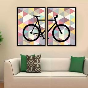 Kit Quadros Bike Abstrato Decoração Moldura E Vidro 45x35cm