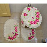 Jogo De Banheiro 4 Peças Crochê Com Flores