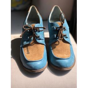 Zapatos Cerrados Con Taco Cuero Y Gamuza