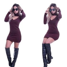Vestido Feminino Curto Inverno Tricot Gola Alta Choker