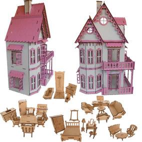 Casa Casinha Castelo Branca Rosa Polly +27móveis Mdf Cru Cc1